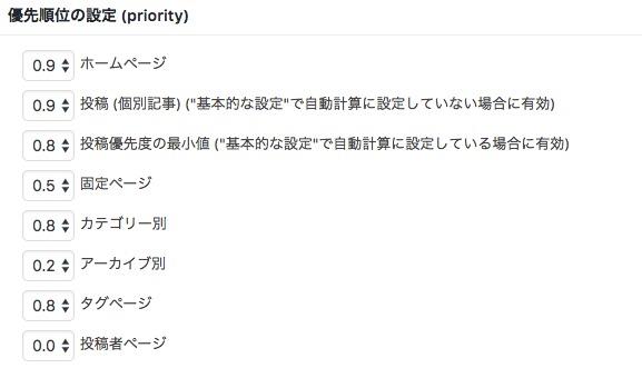 Google XML Sitemapsの設定方法ー優先順位の設定